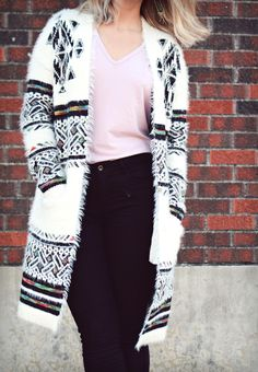 ross dress for less bohemian chic white fuzzy cardigan sweater #bohochic