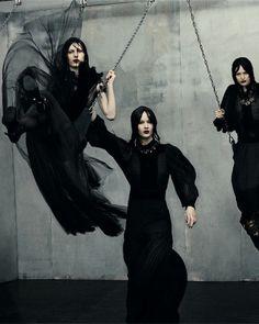Julia Nobis, Elena Bartels, and Lida Fox in Vogue Italia July 2012 by Steven Meisel