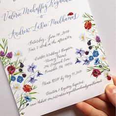 Wedding Invitation with wildflowers - by Lemontree Calligraphy & Illustration