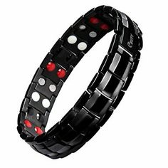 EBUTY Titanium Magnetic Therapy Bracelet Double Row 4 Element All Black with Free Link Removal Tool >>> Find out more about the great product at the image link. (This is an affiliate link and I receive a commission for the sales) Black Bracelets, Bracelets For Men, Bangle Bracelets, Bangles, Bracelet Men, 4 Elements, Health Bracelet, Titanium Rings, Stainless Steel Bracelet