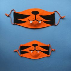 Parent & Kid Tiger Face Masks with Filter Pockets Set of 2 Tiger Face Mask, Mens Face Mask, Diy Mask, Diy Face Mask, Face Masks, Crochet Wallet, Fox Face, Silly Pictures, Puppy Face