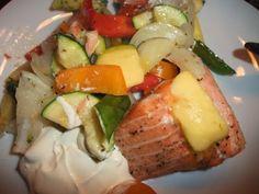 Laks og grønnsaker i ovn. | Lavkarbo gjort enkelt Baked Potato, Potatoes, Chicken, Meat, Baking, Ethnic Recipes, Food, Beef, Potato