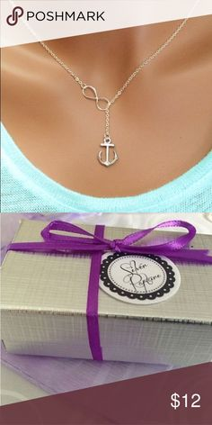 Silver infinity anchor lariat necklace Delicate & classic. Everyday necklace to add to your collection or make a unique and meaningful gift!  This delicate necklace designed in the Trendy Lariat Style with a Silver plated Infinity Charm and Anchor. Lays Beautifully and very comfortable to wear. The Anchor is about 1 inch in size.  Choose to have your chain from 16 – 22 Inches at checkout.  Comes wrapped in Tissue in a Silver Foil gift box ready to give! Check our store for our other…