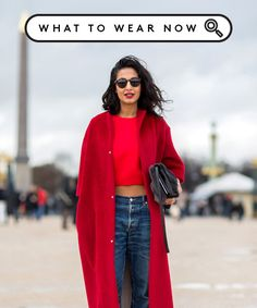 Connect The Subtle Styling Trick That Makes A Big Difference. Nausheen Shah in a gorgeous lipstick-red coat and plain T-shirt. The cropped jeans and heels really give that red more of a background to pop against. Look Fashion, Fashion Outfits, Womens Fashion, Fashion Tips, Fall Fashion, Looks Style, Looks Cool, Look Street Style, Mode Inspiration