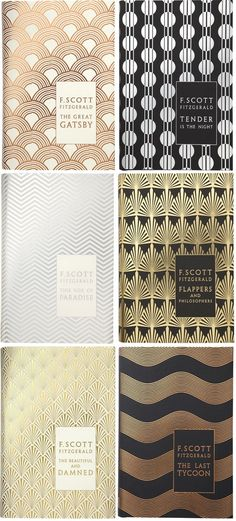 Scott Fitzgerald's hardcover backlist, designed by Coralie Bickford-Smith (yes, the same designer as the gorgeous clothbound classics series that was on everyone's Christmas list in published by Penguin Hardback Classics, -- via book cover cover Graphisches Design, Regal Design, Buch Design, Pattern Design, Print Design, Interior Design, Branding, Motif Art Deco, Stoff Design