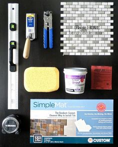 Hometalk :: Super Simple DIY Tile Backsplash tiling supplies. special note of the simple mat at bottom of picture