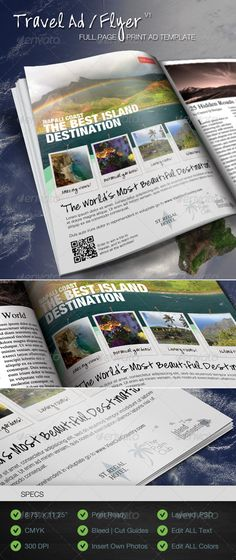 """Easy to customize Travel / Tourism / Vacation Destination Magazine Print Ad or Flyer. This Full Page Template is perfect for any Travel Agency or Tourist Destination. See below for full specs.  Specs:  1 Photoshop Template  Full Page Magazine Ad / Travel Flyer  8.5""""x11"""" (with .25"""" bleed)  CMYK  300 DPI  Print Ready  Fully Layered Adobe Photoshop .PSD"""