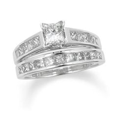 1 CT. T.W. Princess Cut Diamond Bridal Set in 14K White Gold - Zales - This is the ring we decided on:)