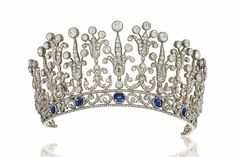 A LATE 19TH CENTURY SAPPHIRE AND DIAMOND TIARA /NECKLACE