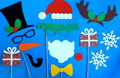 Holiday Photo Booth Props - Christmas PhotoBooth Props Christmas Party Photo Prop Christmas Card Prop Holiday Decoration Family Photo Album. $34.00, via Etsy.
