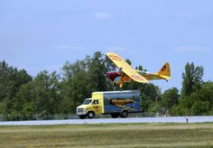 Kent Pietsch in Jelly Belly landing on Harvard support vehicle