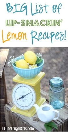 BIG List of Lip-Smackin' Lemon Recipes! ~ from TheFrugalG ~ give your tastebuds an explosion of flavor with these delicious Lemonade Recipes, Lemon Cookies, Cupcakes, Cakes and more! cooking guide tips Lemon Desserts, Lemon Recipes, Summer Recipes, Sweet Recipes, New Recipes, Delicious Desserts, Cooking Recipes, Favorite Recipes, Yummy Food
