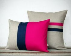 Colorblock Stripe Pillow Set - Hot Pink and Navy Striped Pillow (16x16) - Hot Pink and Navy Colorblock Pillow (12x16) by JillianReneDecor
