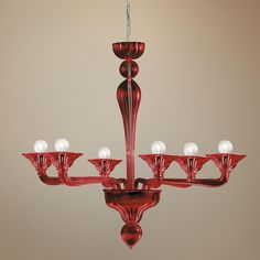 "Asti Collection Red Glass 31 3/4"" Wide Chandelier -"