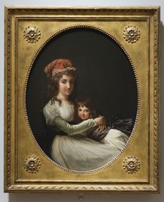 """""""Portrait of a Mother and Daughter"""" attributed to Henri-Pierre Danloux (1794-1795) at the Cleveland Museum of Art, Cleveland - From the curators' comments: """"Though flowing loose and free across her shoulders, the woman's hair is partly bound up in a red kerchief, a tell-tale sign she is an active participant in the French Revolution. The painting also celebrates primary values of the Revolutionary period--close family bonds and, especially, the mother's role in raising children..."""""""