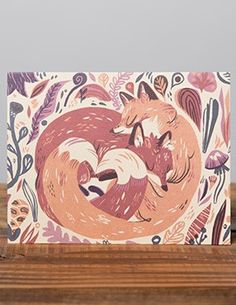 Foxes Floral ~ Printed Card