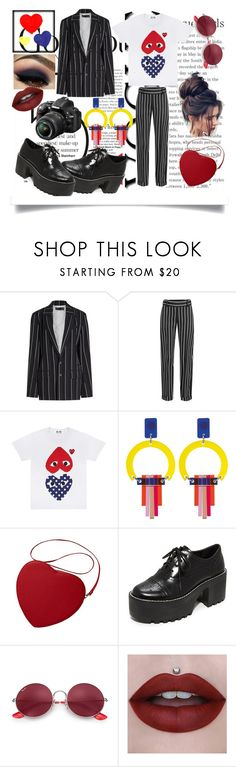 """💙Hearts❤️"" by bipsotisto ❤ liked on Polyvore featuring Haider Ackermann, Toolally, Alice + Olivia, Nikon and Ray-Ban"