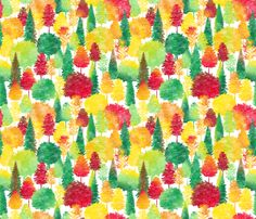 Autumn Forest Colors Watercolor fabric by wickedrefined on Spoonflower - custom fabric