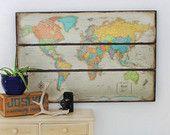 Rustic World Map. World Map Wall Art. Modern Map. 49 x 33. USA Map