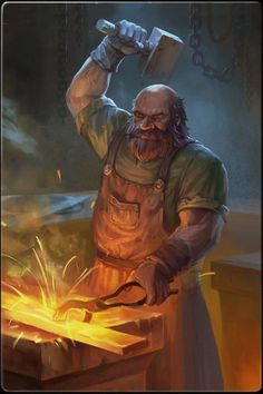 Goibniu- Irish myth: the blacksmith God of the Tuatha de Dannan. He forged their weapons that they used for battle against the fomorians. He was also the preparer of their great feasts that protected them from sickness and old age. Fantasy Dwarf, Fantasy Rpg, Medieval Fantasy, Fantasy Artwork, Dnd Characters, Fantasy Characters, Character Portraits, Character Art, Dark Souls
