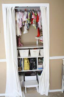Nursery closet idea - Perfect for a small nursery --- i would still want closet doors