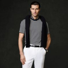 Navy and White Horizontal Striped Crew-neck T-shirt by Ralph Lauren Purple Label. Buy for $74 from Ralph Lauren