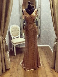 Gold Sequins Long Formal Evening Gown V Neck Sleeveless Cheap Prom Dresses 2018 Sequin Prom Dresses, V Neck Prom Dresses, Prom Dresses 2018, Cheap Evening Dresses, Prom Dresses Online, Cheap Prom Dresses, Quinceanera Dresses, Evening Gowns, Formal Dresses