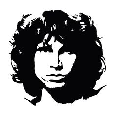 Jimi Hendrix Portrait Svg Dxf Eps Ai Cdr Vector Files for Jim Morrison, Stencil Patterns, Stencil Art, Skull Stencil, Stenciling, White Art, Black And White, Oracal Vinyl, Silhouette Art