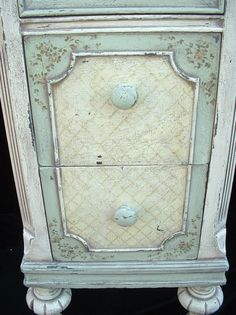 Green and Ivory Hand Painted 1920's - 1930's Vanity/Desk- via Paintique