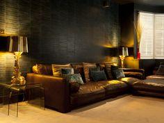 ellis-eye-interiors - dark moody and modern for a bachelor Brave Wallpaper, Dramatic Background, Snug Room, Dark Interiors, Boutique Design, Recycled Furniture, Dream Rooms, Portfolio Design, Dark Navy