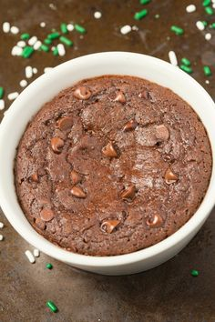 Healthy 1 Minute chocolate brownie with a hint of mint- So moist, gooey, fudgy and loaded with chocolate- Paleo, vegan, gluten free and sugar free!