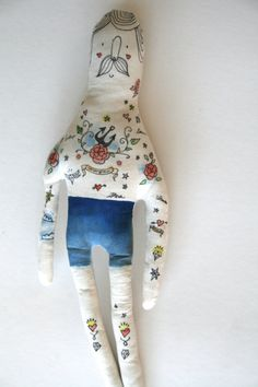 Illustrated Man Handmade Art Doll Painted by BlueRaspberryDesigns, $50.00