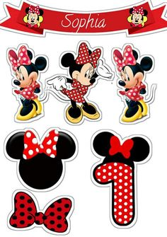 Minnie Mouse Stickers, Minnie Mouse Cake Topper, Minnie Mouse Birthday Decorations, Princess Cake Toppers, Minnie Mouse First Birthday, Bolo Minnie, Red Minnie Mouse, Minnie Mouse Pictures, Kids Cartoon Characters