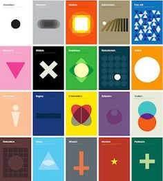 """Minimalist Art: If you enjoy seeing a complicated theory or idea boiled down to its essence, you'll appreciate this new set of posters by London based designer Genis Carreras. In fact, it should come as no surprise that Carreras claims to love """"minimalism and Swiss style"""" especially after seeing this. Here he takes complex philosophical theories, like existentialism and utilitarianism, and whittles them down to basic shapes. Great!"""