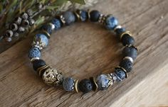 "Bohemian ""Frosty Blackberries"" Stack Bracelet, Boho Chic Rustic Gypsy Crystal Lava Agate Labradorite Stretch Bracelet Jewelry, Gift Women by ByLEXY on Etsy"
