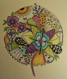 """Flower zendala- something like this filled with all things """"dad"""" Tangle Doodle, Tangle Art, Doodles Zentangles, Zen Doodle, Zentangle Patterns, Doodle Art, Zen Art, Doodle Drawings, Mandala Art"""
