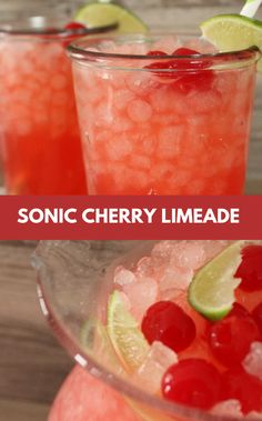 Cherry Limeade Recipe Looking For Refreshing Summer Drink Recipes? One Of Our Favorite Summer Drinks Is This Cherry Limeade. It Tastes Just Like Sonic Cherry Limeade! Now You Can Make It At Home With Our Cherry Limeade Recipe! Sonic Drinks, Non Alcoholic Drinks, Fun Drinks, Yummy Drinks, Healthy Drinks, Healthy Food, Cocktails, Nutrition Drinks, Cold Drinks