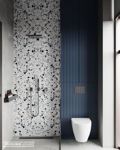 Terrazzo wall accent for the shower area. Blue color in the terrazzo repeated on the adjacent water closet area. Vertical stripes contrasting against the terrazzo pattern. Storage above the water closet, behind subtle cabinet doors. Interior Design Magazine, Modern Bathroom Design, Bathroom Interior Design, Washroom Design, Wall Tiles Design, Minimal Bathroom, Neutral Bathroom, Contemporary Bathrooms, Interior Paint
