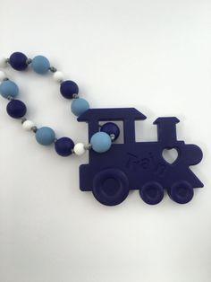 Blue Train Silicone anneau de dentition  Baby par TheTinyLotusShop