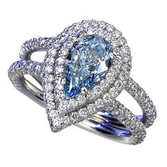 Magnificent Blue Diamond Ring | From a unique collection of vintage fashion rings at https://www.1stdibs.com/jewelry/rings/fashion-rings/