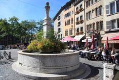 Place du Bourg-de-Four (Old Town Geneva) Geneva, Old Town, Street View, Vacation, Chocolate, Places, Sun, Old City, Vacations
