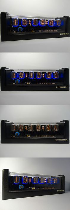 Other Vintage Electronics: 6Xin-12 Nixie Tubes Clock Black Mat Case Led And Alarm Steampunk Retro Watch BUY IT NOW ONLY: $249.0