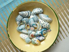 Took all my painted shells from this week and put them in a bowl, also put in these Liberty of London covered shells which I made a while ago.