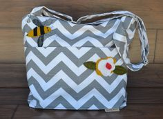 Purse with  removable insert  / appliqued bag for Women  in Grey Chevron Stripe / bumble bee / Diaper or travel bag too/  by Darby Mack