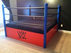 cool boys bed - easy DIY boys bed Basic wood platform, PVC pipe corners then rope connected covered by the gray pipe insulation. Cool Beds For Boys, Cool Boys Room, Kids Room, Wwe Bedroom, Small Room Bedroom, Girls Bedroom, Bedroom Ideas, Small Rooms, Bedroom Stuff