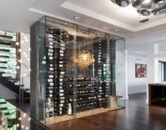 Modern Home Wine Cellar - Discover home design ideas, furniture, browse photos and plan projects at HG Design Ideas - connecting homeowners with the latest trends in home design & remodeling Wine Cellar Modern, Modern Wine Rack, Glass Wine Cellar, Home Wine Cellars, Wine Cellar Design, Home Design, Wine House, Wine Display, Bottle Display