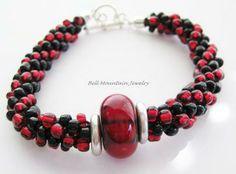 Red and Black Beaded Kumihimo Bracelet Lampwork Focal