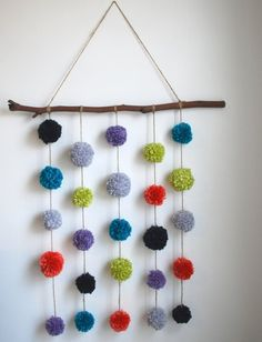 Branch pompom wall hanging- 6 color yarn pompom wall hanging, wall decor, photo prop, room decor, kids room
