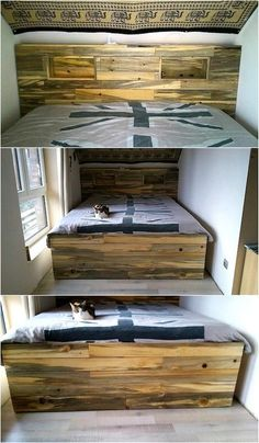 Here is presented a unique idea of making a bed with the reclaimed wooden pallets, the idea is great because the headboard offers the storage space for the items of daily use. It also eliminates the need of placing side tables in the bedroom. Diy Pallet Bed, Wood Pallet Art, Wood Pallet Furniture, Diy Pallet Projects, Cheap Furniture, Repurposed Wood, Recycled Pallets, Wooden Pallets, Palette Diy