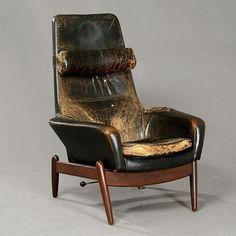 IB Kofod Larsen; Teak and Leather Adjustable Lounge Chair for Carlo Garhn, 1960.